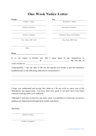 """""""One Week Notice Letter Template"""""""
