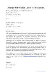 "Sample ""Solicitation Letter for Donations"""
