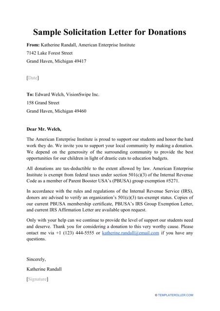 "Sample ""Solicitation Letter for Donations"" Download Pdf"