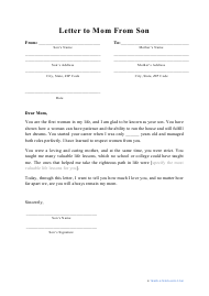 """Letter to Mom From Son Template"""