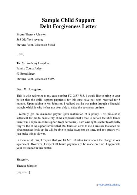 """Sample """"Child Support Debt Forgiveness Letter"""" Download Pdf"""