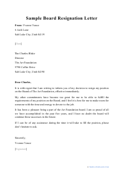 """Sample """"Board Resignation Letter"""""""
