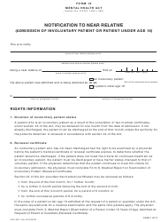 """Form 16 (HLTH3516) """"Notification to Near Relative (Admission of Involuntary Patient or Patient Under Age 16)"""" - British Columbia, Canada"""