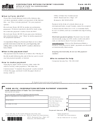 "Form 40-PV (SFN28752) ""Corporation Return Payment Voucher"" - North Dakota, 2020"