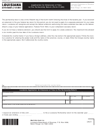 """Form R-6463 (IT-565) """"Application for Extension of Time to File Partnership Return"""" - Louisiana"""