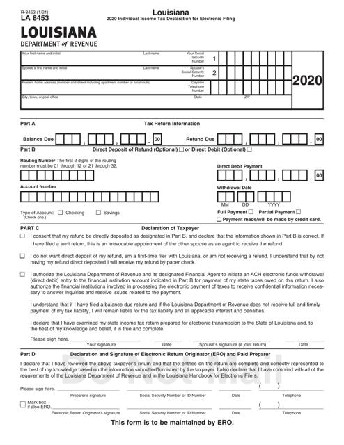Form R-8453 (LA8453) 2020 Printable Pdf