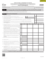"""Form N-220 """"Underpayment of Estimated Tax by Corporations and S Corporations"""" - Hawaii"""