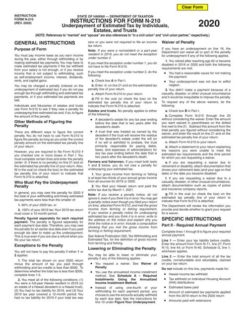 Form N-210 2020 Printable Pdf