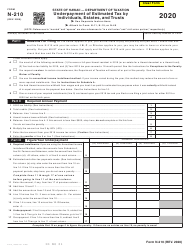 """Form N-210 """"Underpayment of Estimated Tax by Individuals, Estates, and Trusts"""" - Hawaii"""