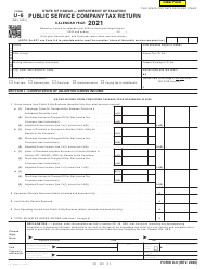 "Form U-6 ""Public Service Company Tax Return"" - Hawaii, 2021"