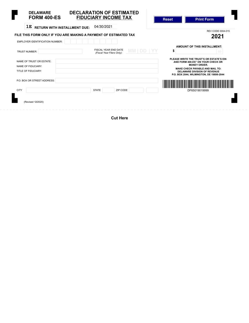 Form 400-ES Download Fillable PDF or Fill Online ...