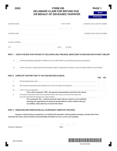 Form 209 2020 Printable Pdf