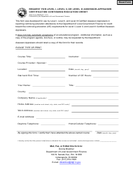 """State Form 55809 """"Request for Level I, Level Ii, or Level Iii Assessor-Appraiser Certification Continuing Education Credit"""" - Indiana"""