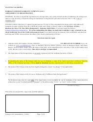 """Foreign Limited Liability Company (LLC) Amendment to Registration"" - Alabama"