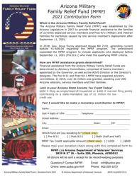 """Arizona Military Family Relief Fund (Mfrf) Contribution Form"" - Arizona, 2021"