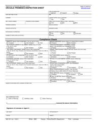 "Form ABC-531 ""On-Sale Premises Inspection Sheet"" - California"