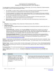 """Form RDOM-1 """"Statement of Redomestication (California Insurer Only)"""" - California"""