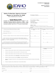 """Idaho Collection Agency Annual Report of Activity"" - Idaho, 2020"
