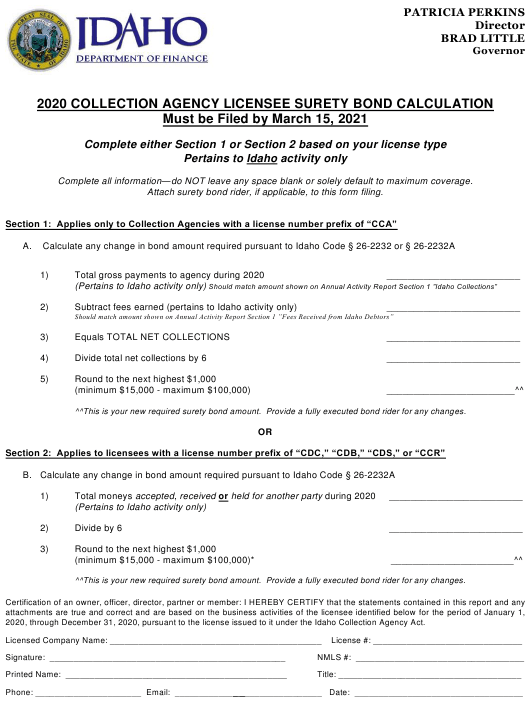 """""""Collection Agency Licensee Surety Bond Calculation"""" - Idaho Download Pdf"""