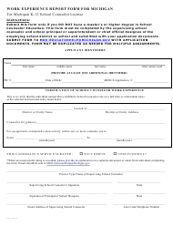 """""""Work Experience Report Form for Michigan for Michigan K-12 School Counselor License"""" - Michigan"""