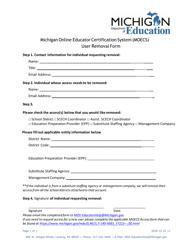"""Michigan Online Educator Certification System (Moecs) User Removal Form"" - Michigan"