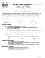 """Certification Request Form"" - Montana"