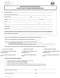"""Application for Certification of Notary Public Training Program/Provider"" - Montana"