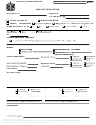 """Form 1 (CPD-1) """"Consent Requisition"""" - British Columbia, Canada"""