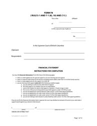 "Form F8 ""Financial Statement"" - British Columbia, Canada"