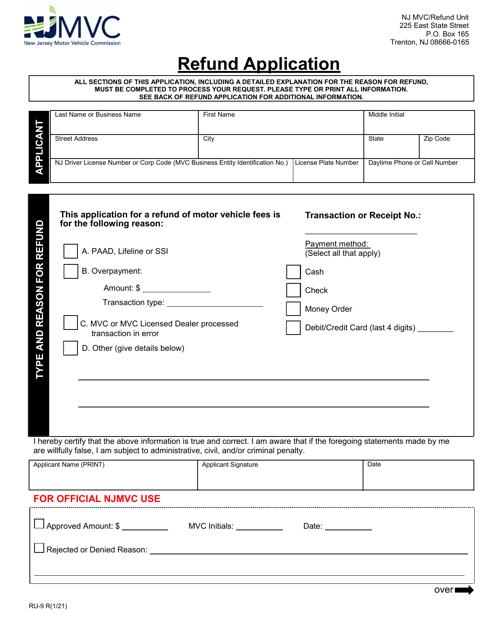 Form RU-9  Printable Pdf