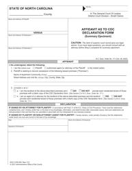 "Form AOC-CVM-208 ""Affidavit as to CDC Declaration Form (Summary Ejectment)"" - North Carolina"