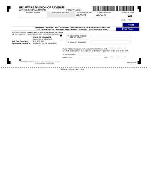 Form W1A 9301 2021 Printable Pdf
