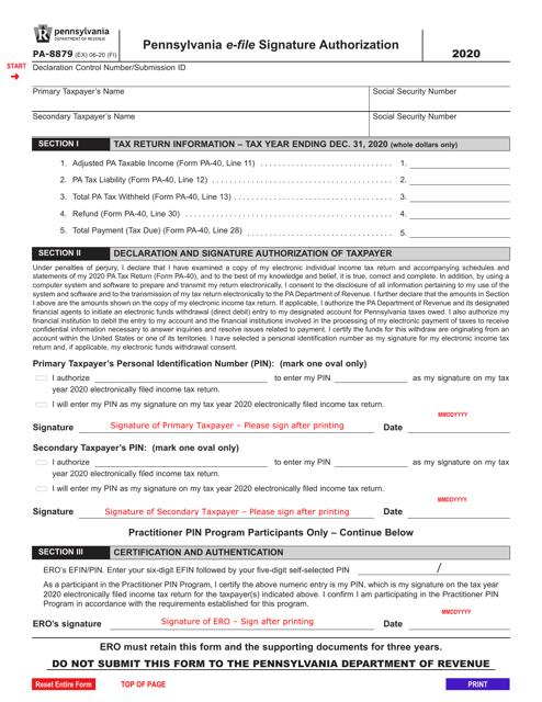 Form PA-8879 2020 Printable Pdf