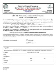 "SCDCA Form PEO-01 ""Professional Employer Organization Initial License Application"" - South Carolina"