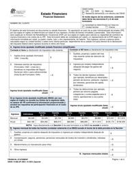 """DSHS Formulario 14-068 """"Estado Financiero"""" - Washington (Spanish)"""