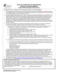 """DSHS Formulario 27-089 """"Aviso De Verificacion De Antecedentes Basada En Huellas Digitales"""" - Washington (Spanish)"""