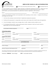"Form DOC02-024 ""Employer Vehicle Use Authorization"" - Washington"