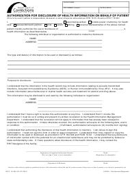 "Form DOC13-555 ""Authorization for Disclosure of Health Information on Behalf of Patient"" - Washington"