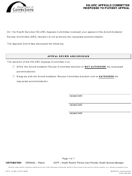 "Form DOC13-585 ""HQ ARC Appeals Committee Response to Patient Appeal"" - Washington"