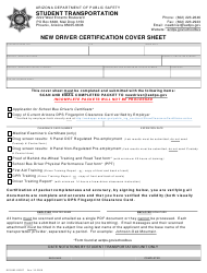 "Form DPS802-03207 ""New Driver Certification Cover Sheet"" - Arizona"