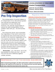 "Form DPS802-03217 ""School Bus Driver Daily Pre-trip Checklist"" - Arizona"