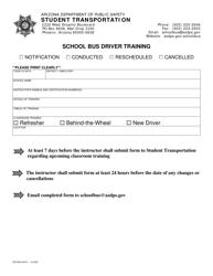 "Form DPS802-03219 ""School Bus Driver Training"" - Arizona"