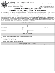 "Form DPS802-03213 ""School Bus Advisory Council Committee/Working Group Application"" - Arizona"