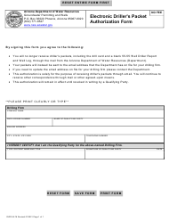 """Form DWR55-76 """"Electronic Driller's Packet Authorization Form"""" - Arizona"""