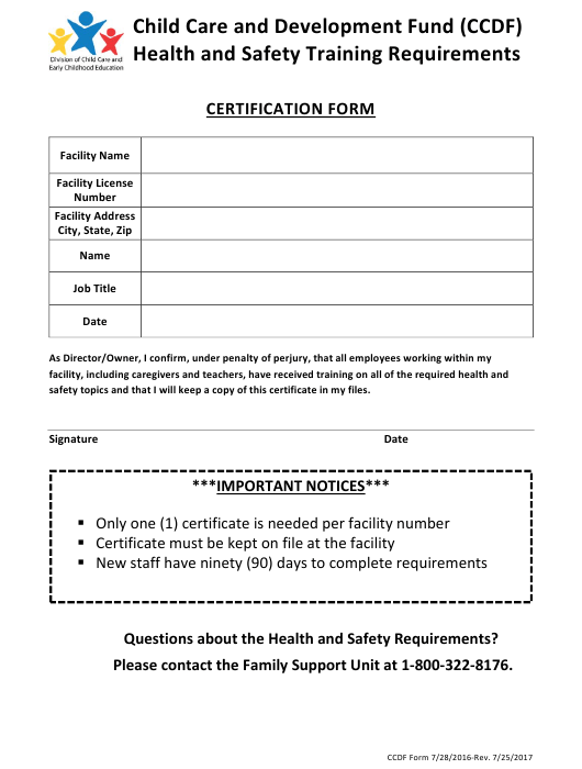 """""""Ccdbg Health and Safety Training Certification Form"""" - Arkansas Download Pdf"""