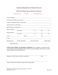 "Form 210 ""Behavioral Health Agency Resource Summary"" - Arkansas"