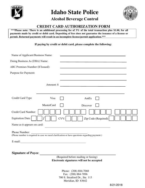 """Credit Card Authorization Form"" - Idaho Download Pdf"
