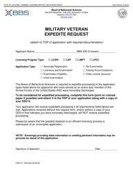 """Form 37M-471 """"Military Veteran Expedite Request"""" - California"""