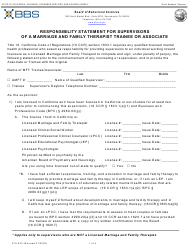 """Form 37A-523 """"Responsibility Statement for Supervisors of a Marriage and Family Therapist Trainee or Associate"""" - California"""