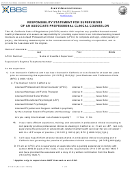 """Form 37A-643 """"Responsibility Statement for Supervisors of an Associate Professional Clinical Counselor"""" - California"""